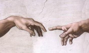 Toque de dios al humano en la capilla sixtina